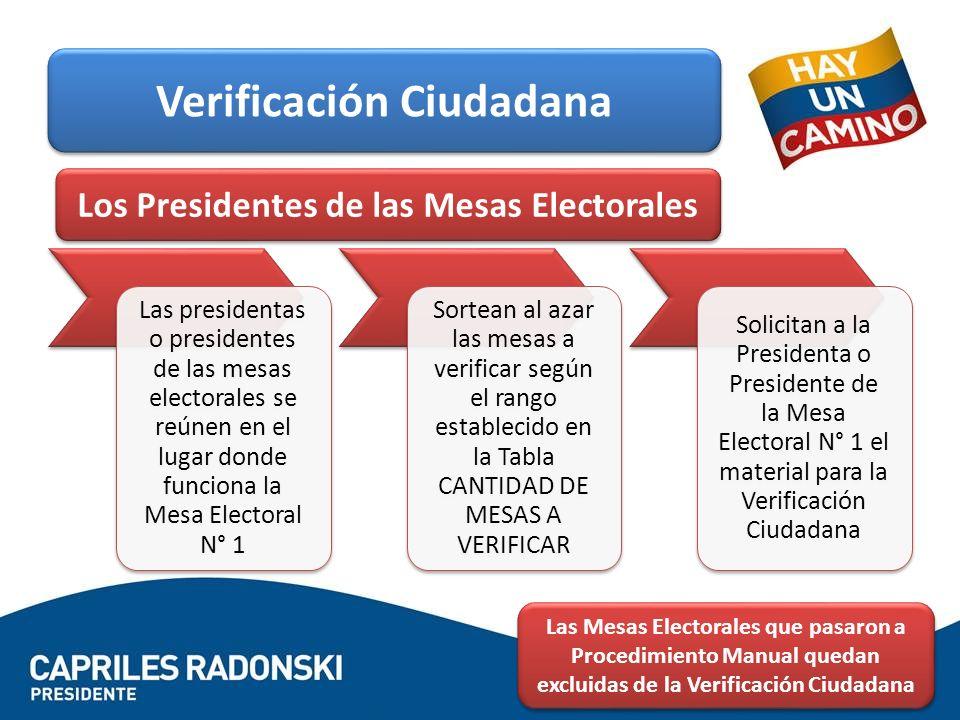 Verificación Ciudadana Los Presidentes de las Mesas Electorales