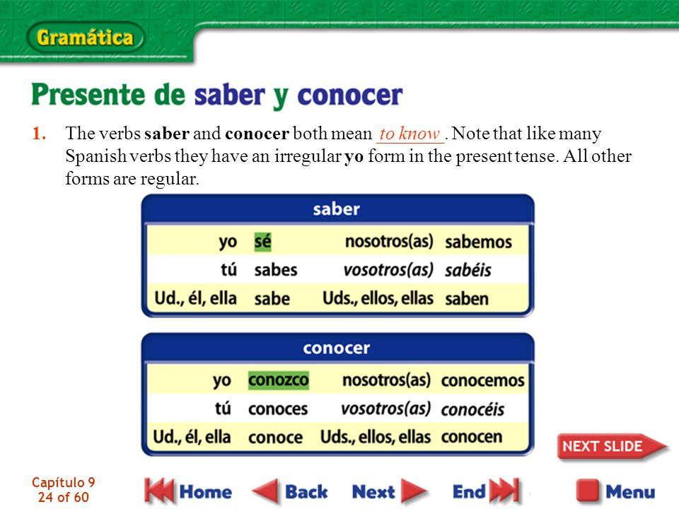 1. The verbs saber and conocer both mean _______