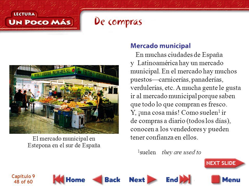 El mercado municipal en Estepona en el sur de España
