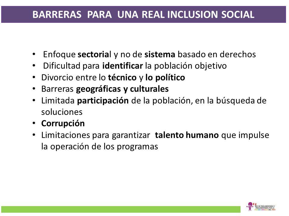 BARRERAS PARA UNA REAL INCLUSION SOCIAL