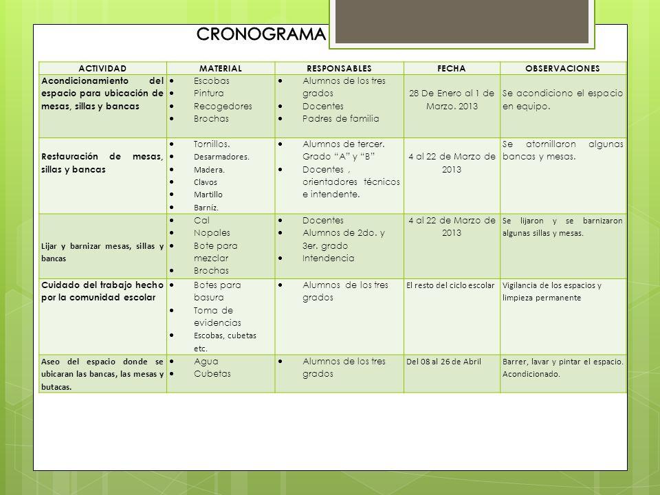 CRONOGRAMA ACTIVIDAD MATERIAL RESPONSABLES FECHA OBSERVACIONES