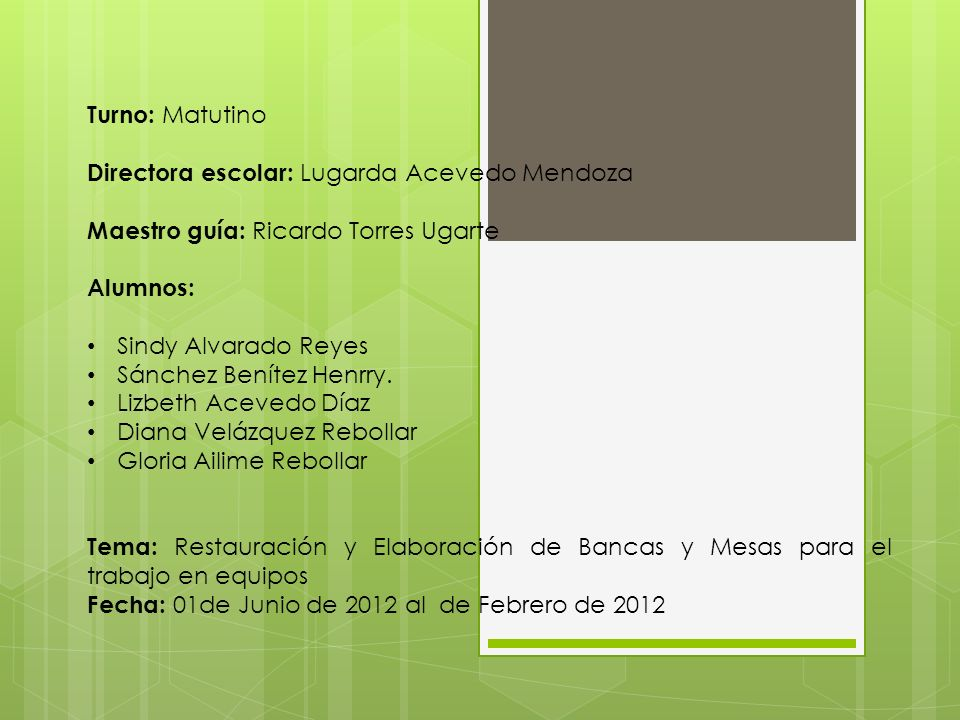 Turno: MatutinoDirectora escolar: Lugarda Acevedo Mendoza. Maestro guía: Ricardo Torres Ugarte. Alumnos: