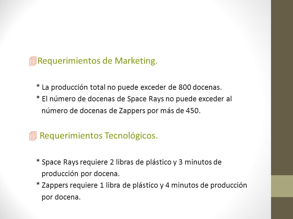 Requerimientos de Marketing.