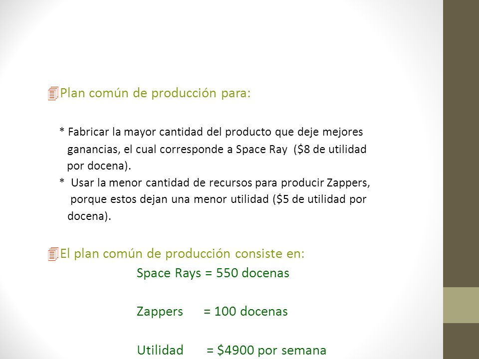Plan común de producción para:
