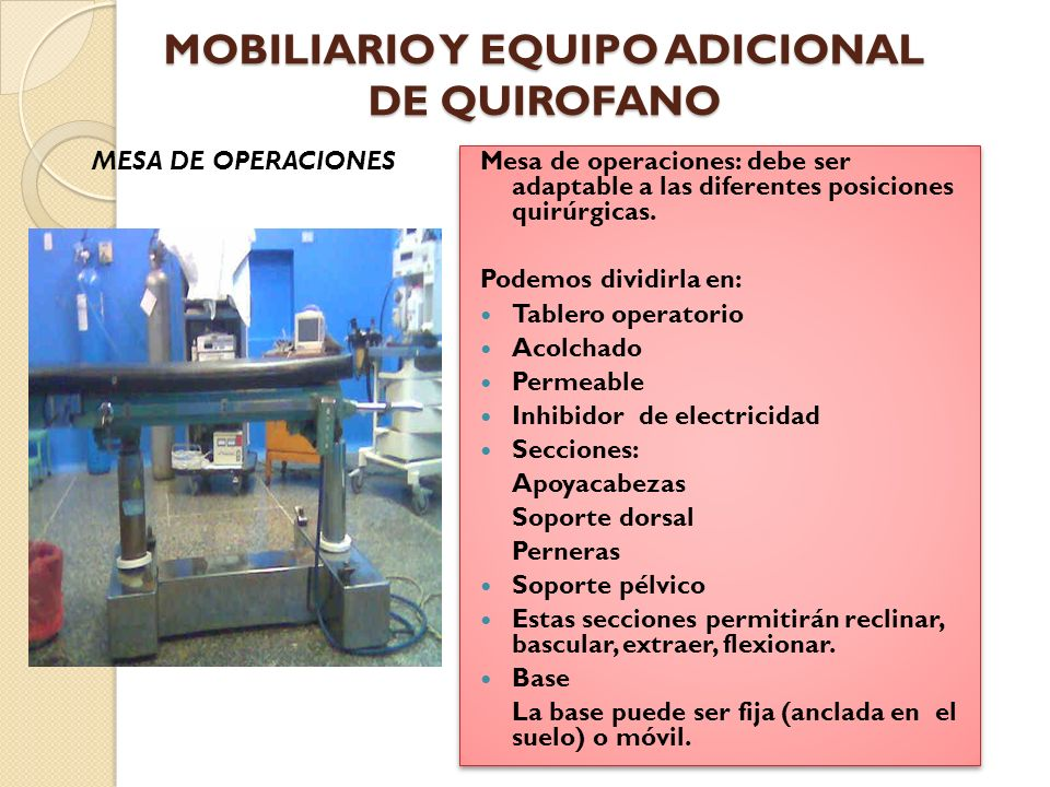 Dotaci n b sica de la unidad quir rgica ppt video online for Mobiliario y equipo