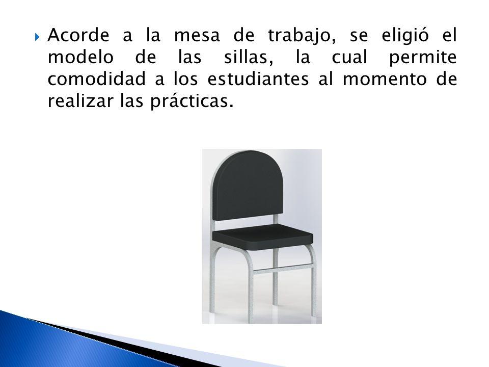 Acorde a la mesa de trabajo, se eligió el modelo de las sillas, la cual permite comodidad a los estudiantes al momento de realizar las prácticas.