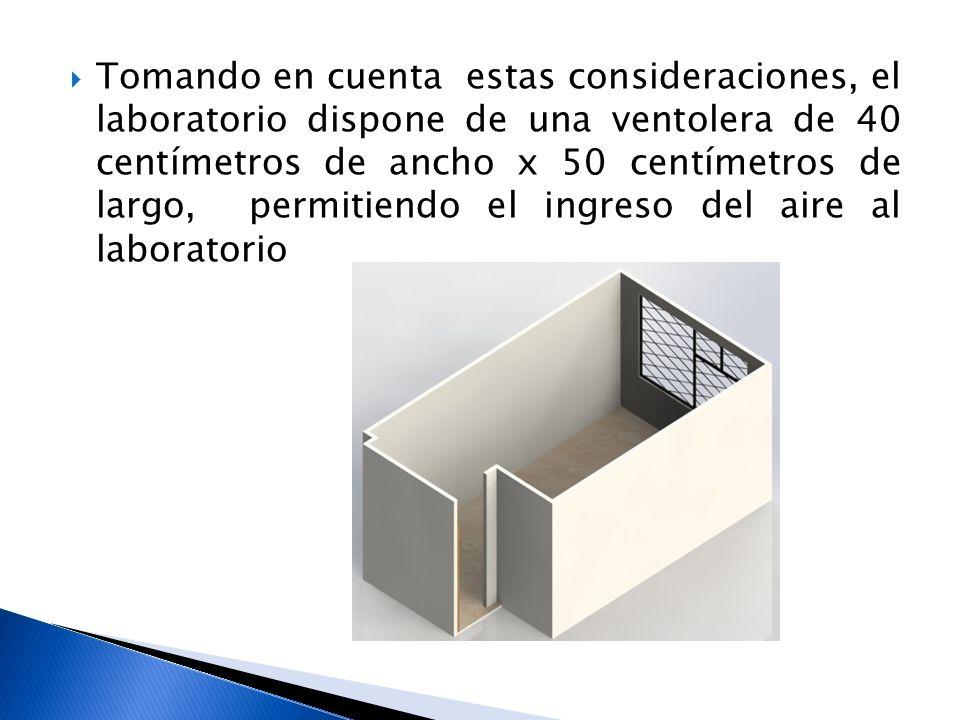 Tomando en cuenta estas consideraciones, el laboratorio dispone de una ventolera de 40 centímetros de ancho x 50 centímetros de largo, permitiendo el ingreso del aire al laboratorio