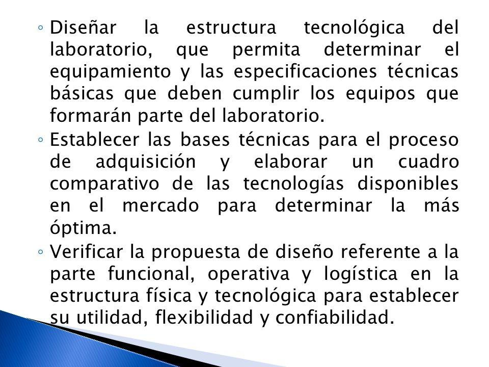 Diseñar la estructura tecnológica del laboratorio, que permita determinar el equipamiento y las especificaciones técnicas básicas que deben cumplir los equipos que formarán parte del laboratorio.