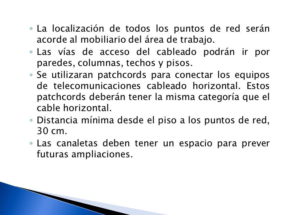 La localización de todos los puntos de red serán acorde al mobiliario del área de trabajo.