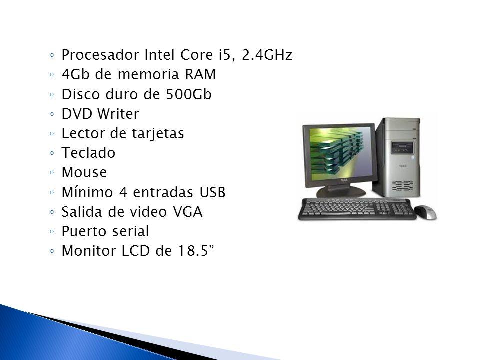 Procesador Intel Core i5, 2.4GHz 4Gb de memoria RAM