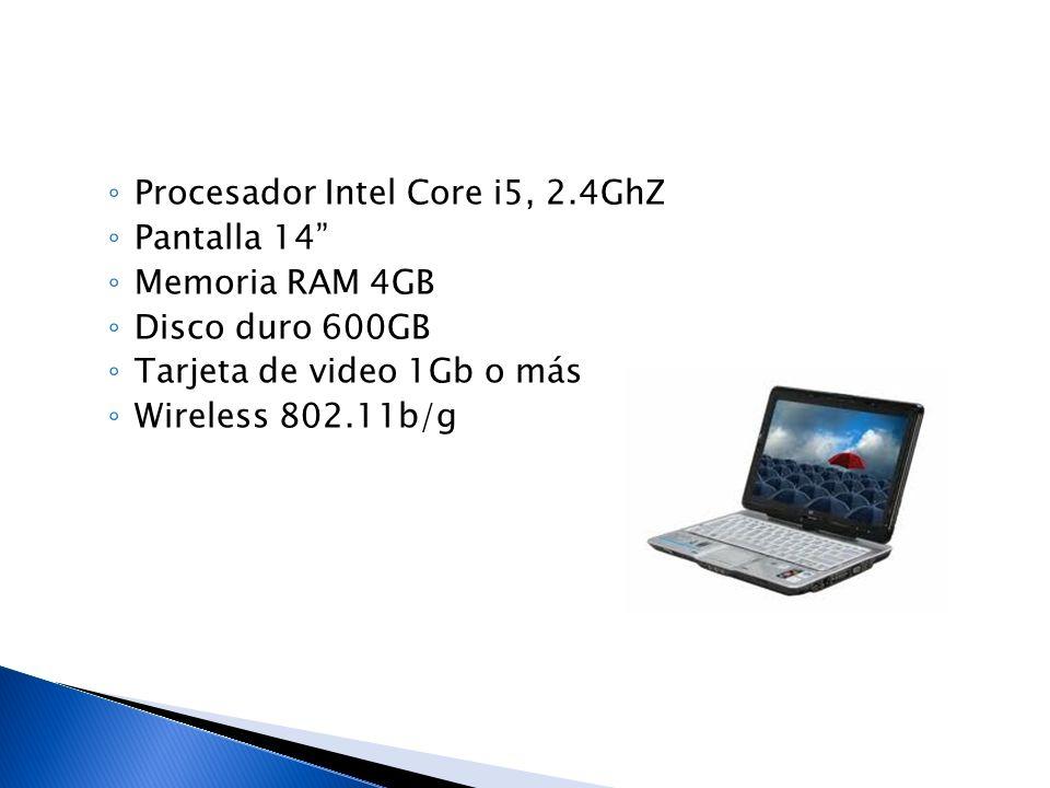 Procesador Intel Core i5, 2.4GhZ Pantalla 14 Memoria RAM 4GB