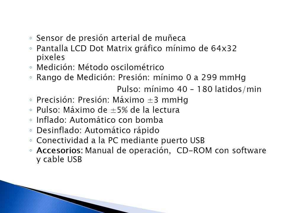 Pulso: mínimo 40 – 180 latidos/min