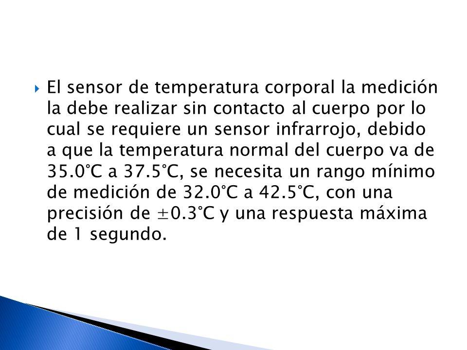 El sensor de temperatura corporal la medición la debe realizar sin contacto al cuerpo por lo cual se requiere un sensor infrarrojo, debido a que la temperatura normal del cuerpo va de 35.0°C a 37.5°C, se necesita un rango mínimo de medición de 32.0°C a 42.5°C, con una precisión de ±0.3°C y una respuesta máxima de 1 segundo.