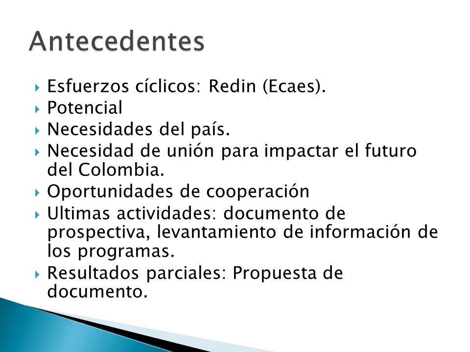 Antecedentes Esfuerzos cíclicos: Redin (Ecaes). Potencial