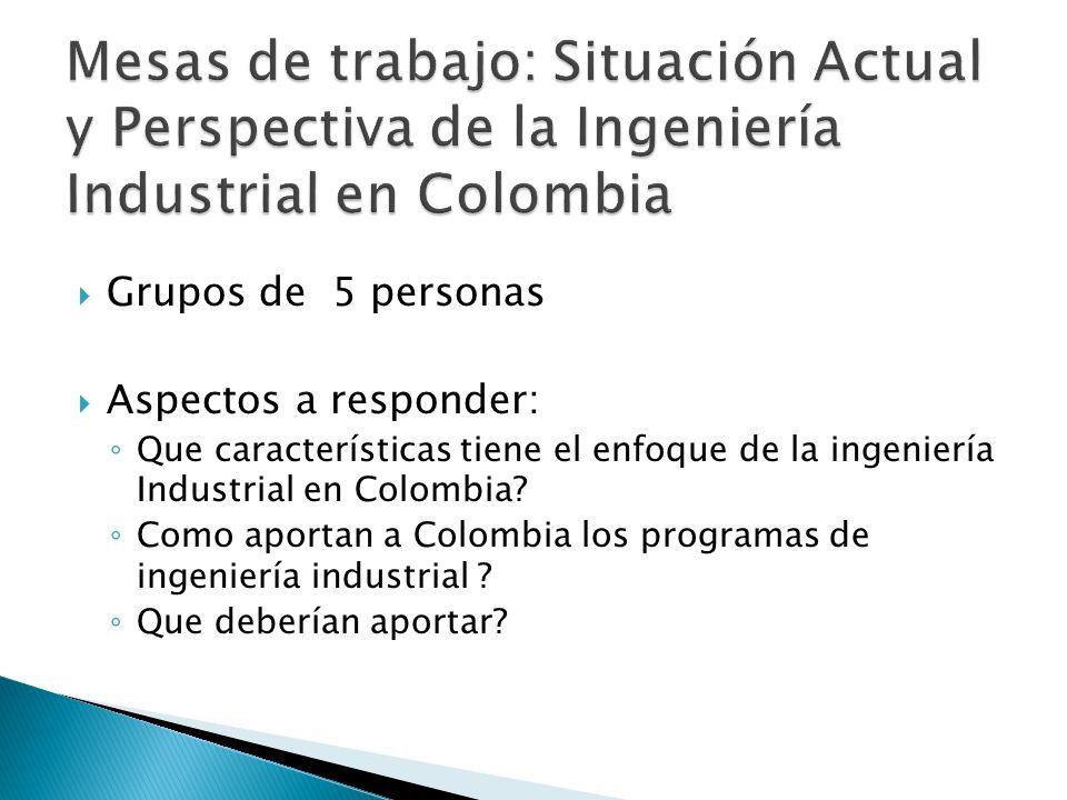 Mesas de trabajo: Situación Actual y Perspectiva de la Ingeniería Industrial en Colombia