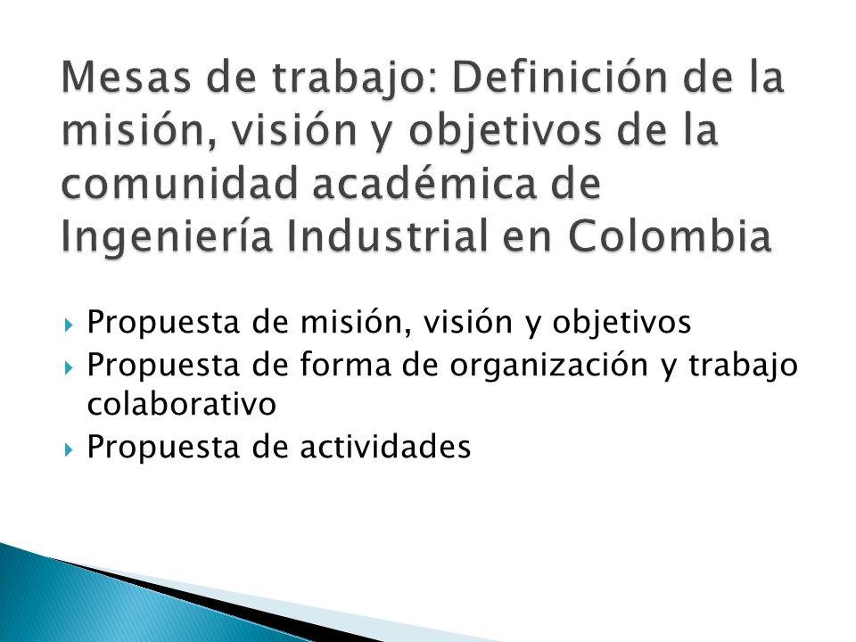Mesas de trabajo: Definición de la misión, visión y objetivos de la comunidad académica de Ingeniería Industrial en Colombia