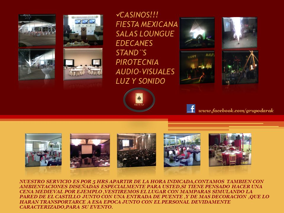CASINOS!!! FIESTA MEXICANA SALAS LOUNGUE EDECANES STAND¨S PIROTECNIA AUDIO-VISUALES LUZ Y SONIDO