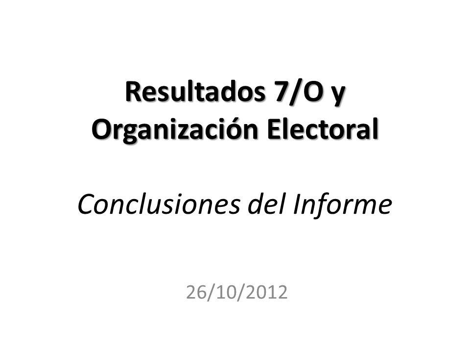 Resultados 7/O y Organización Electoral Conclusiones del Informe