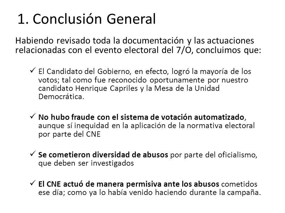 1. Conclusión General Habiendo revisado toda la documentación y las actuaciones relacionadas con el evento electoral del 7/O, concluimos que: