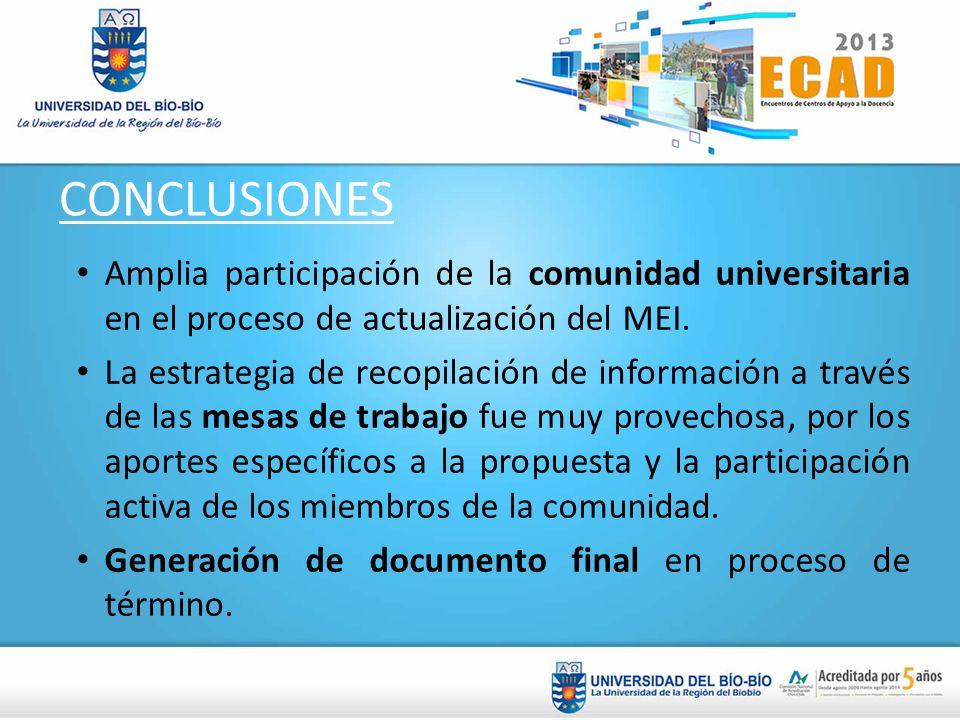 CONCLUSIONESAmplia participación de la comunidad universitaria en el proceso de actualización del MEI.