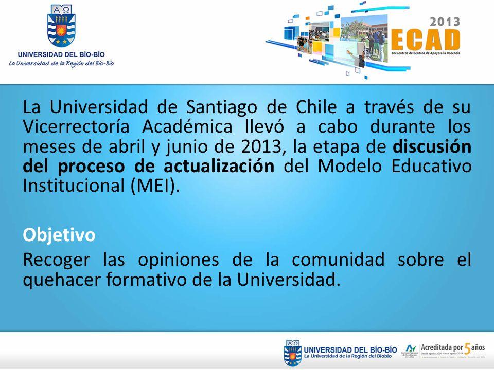 La Universidad de Santiago de Chile a través de su Vicerrectoría Académica llevó a cabo durante los meses de abril y junio de 2013, la etapa de discusión del proceso de actualización del Modelo Educativo Institucional (MEI).