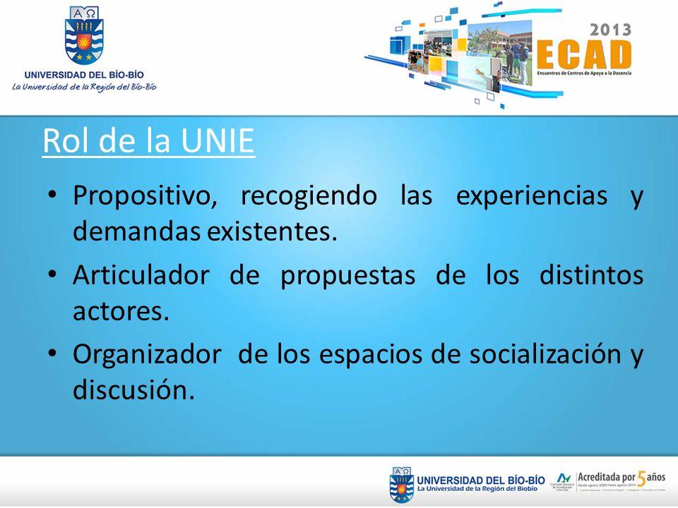 Rol de la UNIE Propositivo, recogiendo las experiencias y demandas existentes. Articulador de propuestas de los distintos actores.