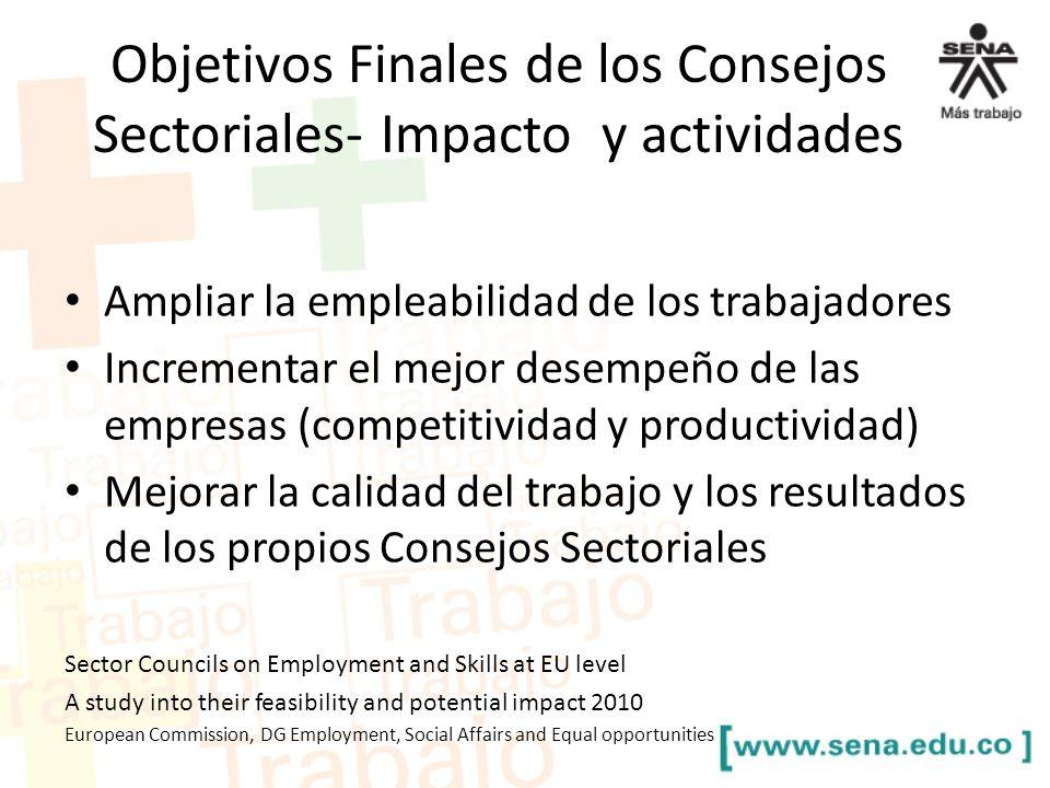 Objetivos Finales de los Consejos Sectoriales- Impacto y actividades