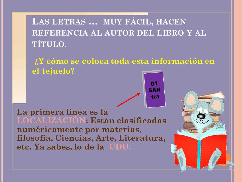 Las letras … muy fácil, hacen referencia al autor del libro y al título.