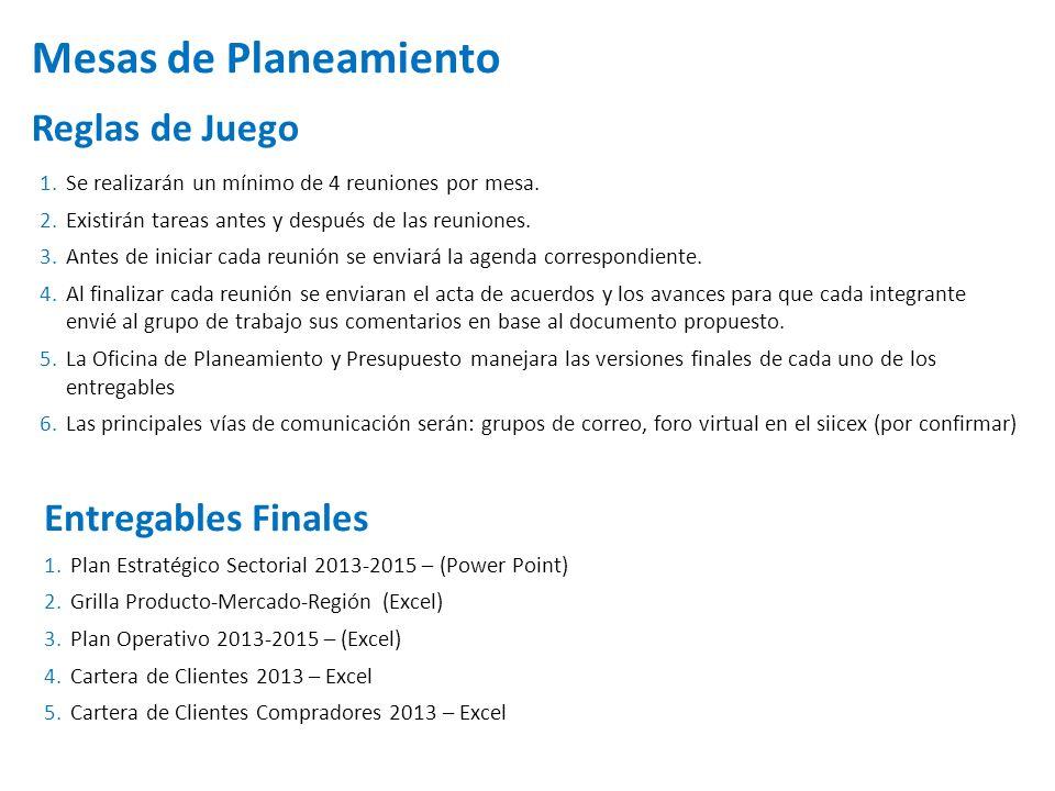 Mesas de Planeamiento Reglas de Juego Entregables Finales