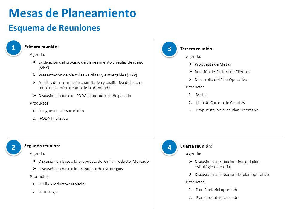 Mesas de Planeamiento Esquema de Reuniones 1 3 2 4 Primera reunión: