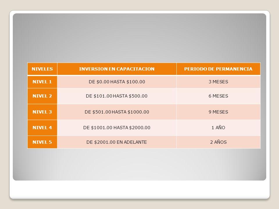 INVERSION EN CAPACITACION PERIODO DE PERMANENCIA