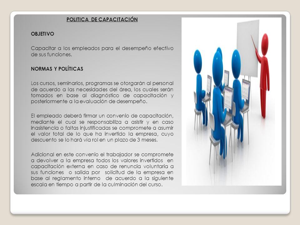 POLITICA DE CAPACITACIÓN OBJETIVO Capacitar a los empleados para el desempeño efectivo de sus funciones.