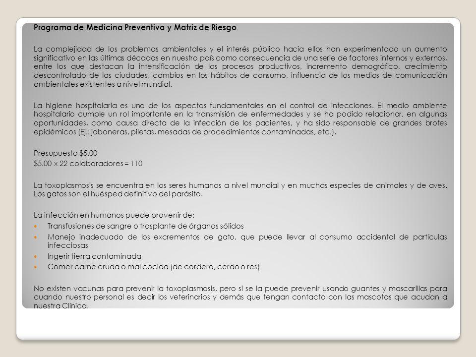 Programa de Medicina Preventiva y Matriz de Riesgo