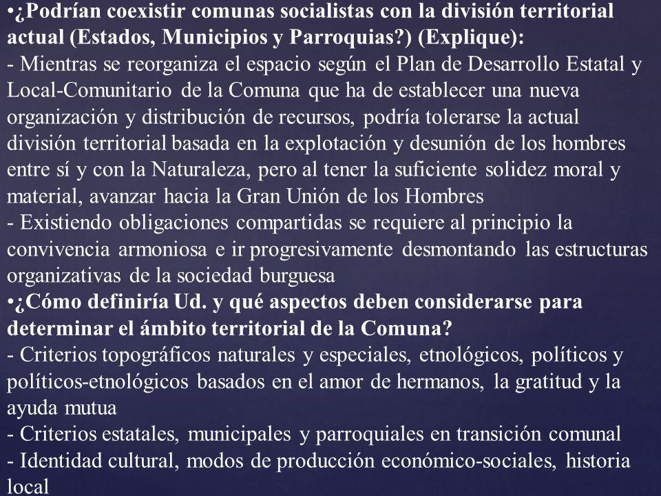 ¿Podrían coexistir comunas socialistas con la división territorial actual (Estados, Municipios y Parroquias ) (Explique):