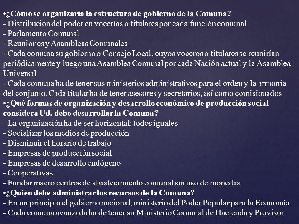 ¿Cómo se organizaría la estructura de gobierno de la Comuna