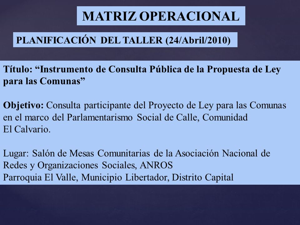 MATRIZ OPERACIONAL PLANIFICACIÓN DEL TALLER (24/Abril/2010)