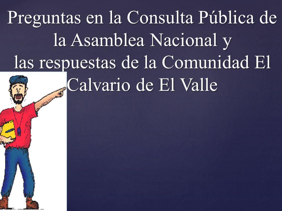 Preguntas en la Consulta Pública de la Asamblea Nacional y las respuestas de la Comunidad El Calvario de El Valle