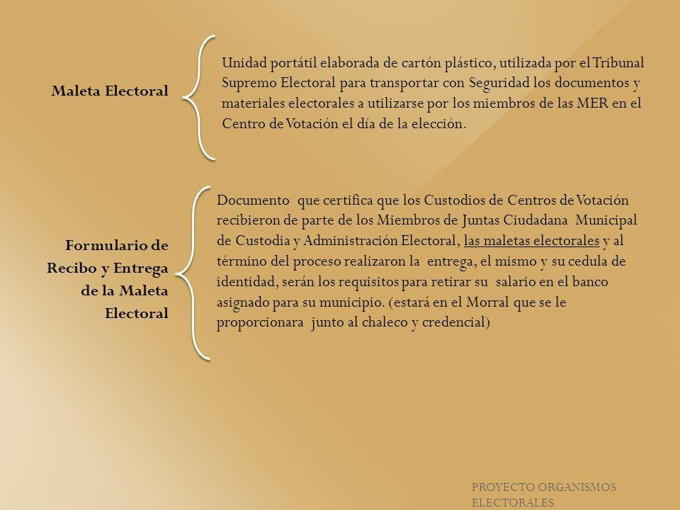 Formulario de Recibo y Entrega de la Maleta Electoral