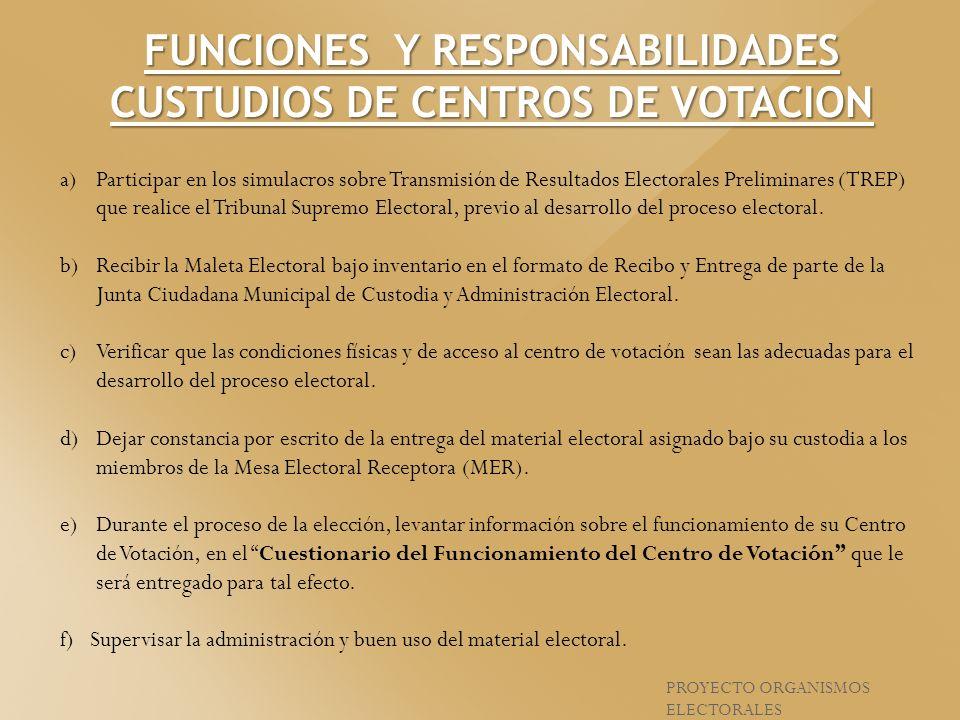 FUNCIONES Y RESPONSABILIDADES CUSTUDIOS DE CENTROS DE VOTACION