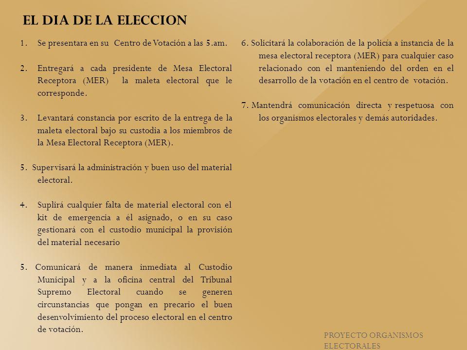 EL DIA DE LA ELECCION Se presentara en su Centro de Votación a las 5.am.