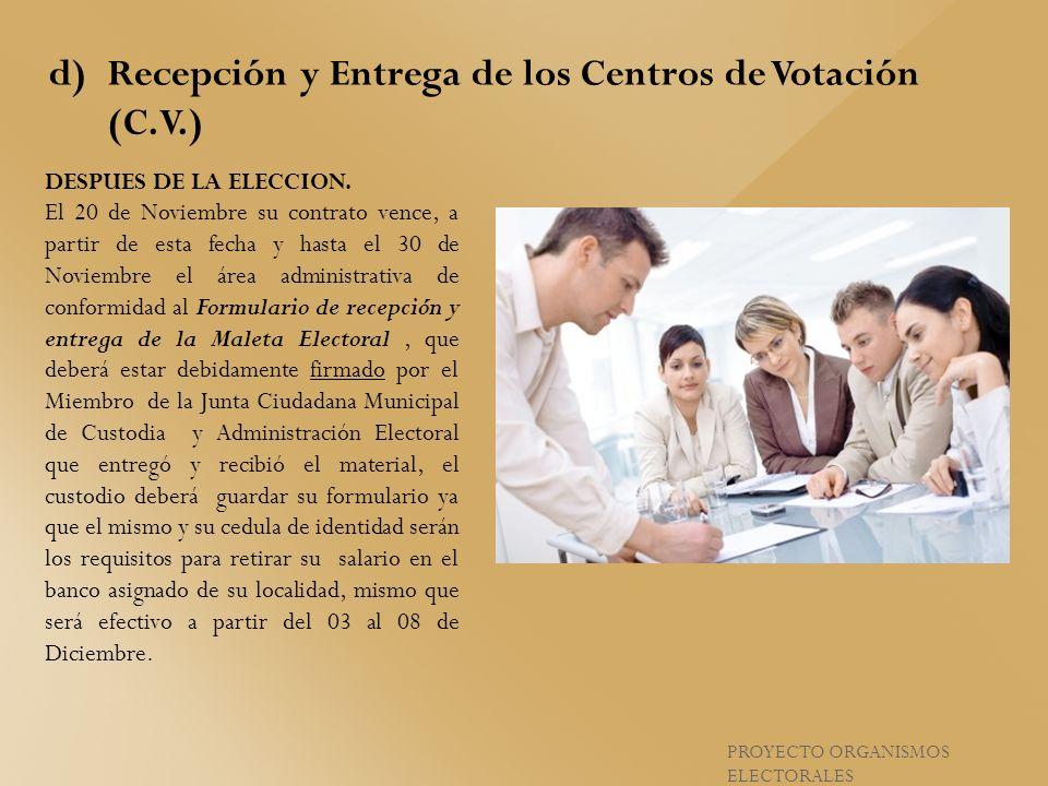 Recepción y Entrega de los Centros de Votación (C.V.)