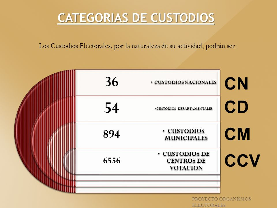 CATEGORIAS DE CUSTODIOS