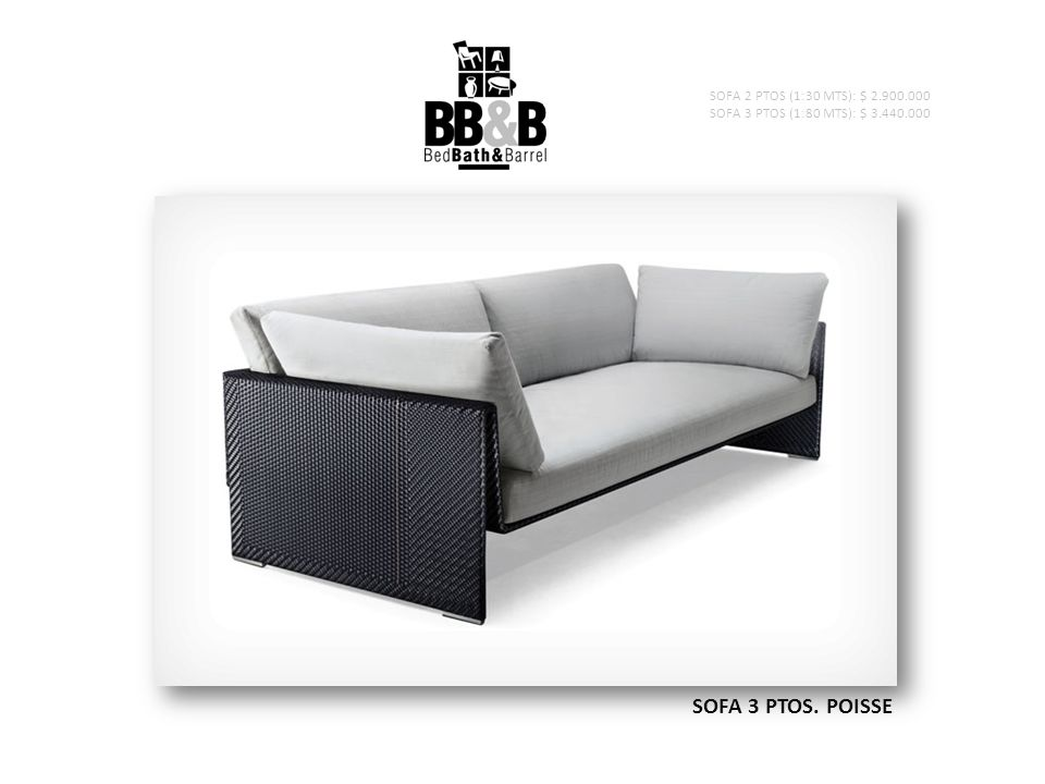 SOFA 3 PTOS. POISSE SOFA 2 PTOS (1:30 MTS): $ 2.900.000