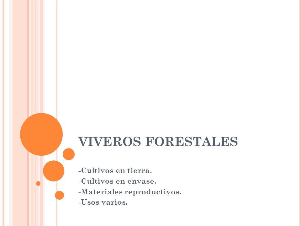 VIVEROS FORESTALES -Cultivos en tierra. -Cultivos en envase.