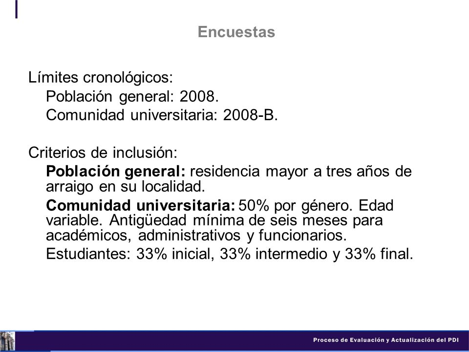 Encuestas Límites cronológicos: Población general: 2008. Comunidad universitaria: 2008-B. Criterios de inclusión: