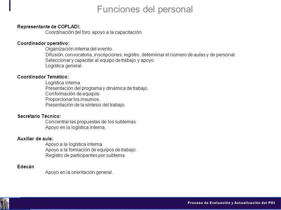 Funciones del personal