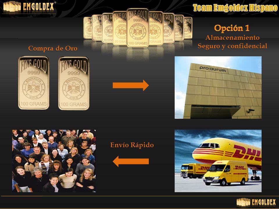 Opción 1 Almacenamiento Seguro y confidencial Compra de Oro