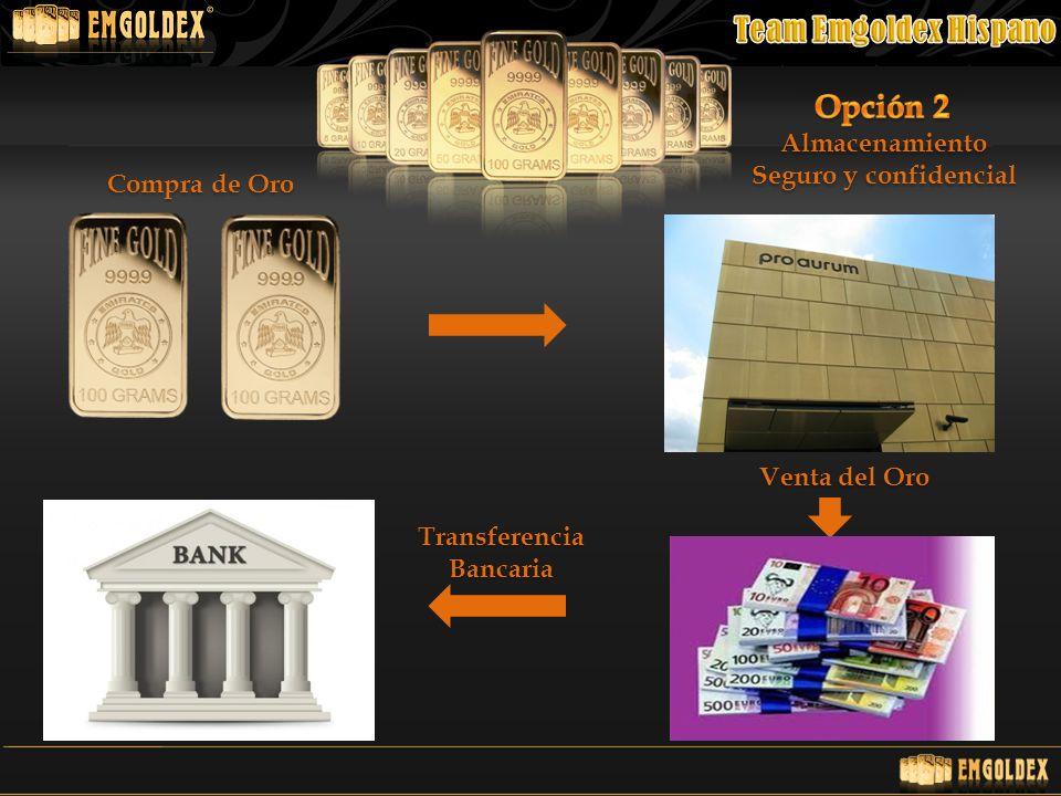 Opción 2 Almacenamiento Seguro y confidencial Compra de Oro