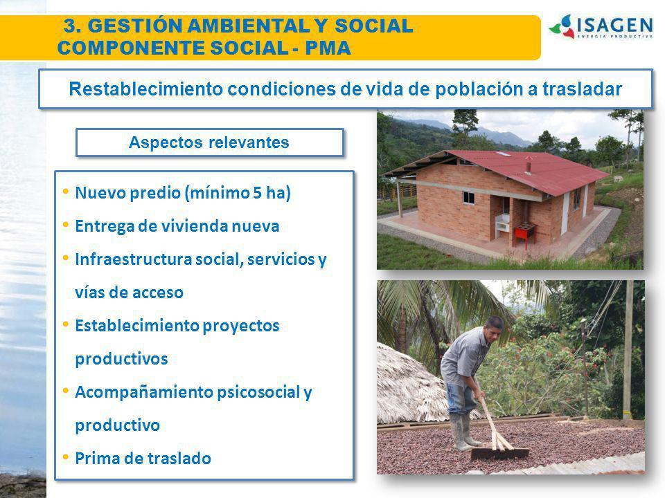 Restablecimiento condiciones de vida de población a trasladar