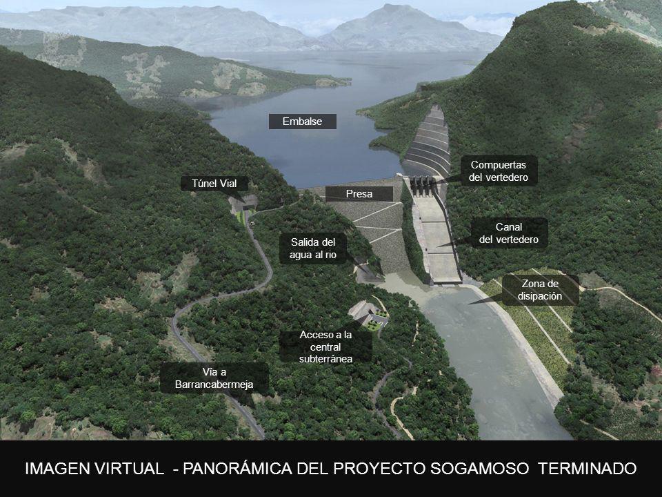 5. Plan de expansión Embalse. Compuertas. del vertedero. Túnel Vial. Presa. Canal. del vertedero.